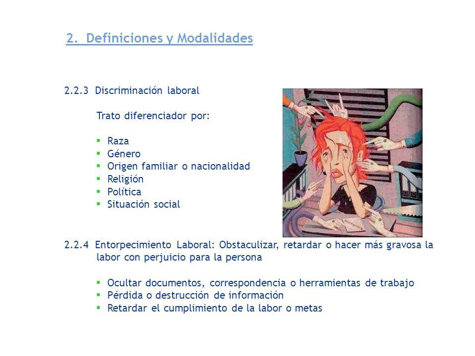 2.2.5 Inequidad Laboral: Asignación de funciones a menosprecio del trabajador Modalidades 2.2.5.1 A trabajo igual, en igualdad de condiciones de trabajo, salario igual.