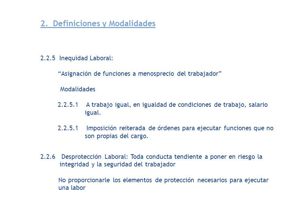 2.2.5 Inequidad Laboral: Asignación de funciones a menosprecio del trabajador Modalidades 2.2.5.1 A trabajo igual, en igualdad de condiciones de traba