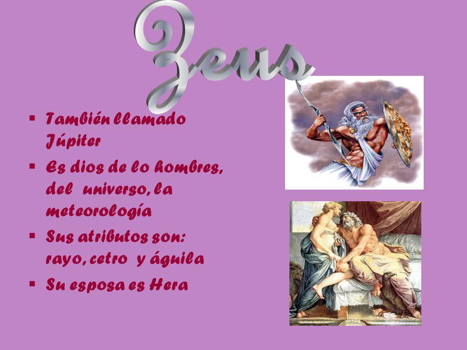 También llamado Júpiter Es dios de lo hombres, del universo, la meteorología Sus atributos son: rayo, cetro y águila Su esposa es Hera