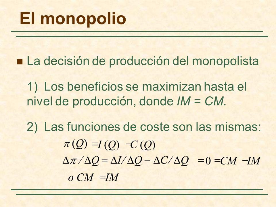 La decisión de producción del monopolista 1)Los beneficios se maximizan hasta el nivel de producción, donde IM = CM.