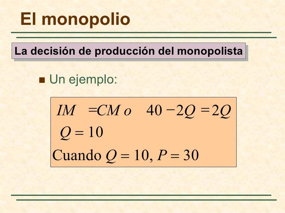Un ejemplo: Cuando Q 10, P 30 2240 QQCM oIM El monopolio La decisión de producción del monopolista Q 10