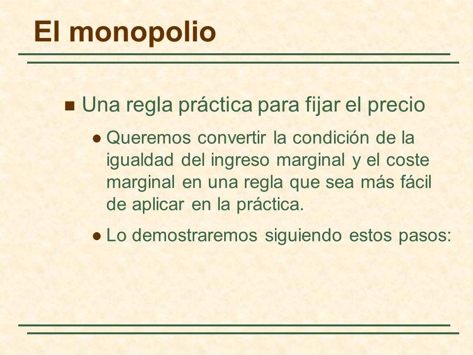 Una regla práctica para fijar el precio Queremos convertir la condición de la igualdad del ingreso marginal y el coste marginal en una regla que sea más fácil de aplicar en la práctica.