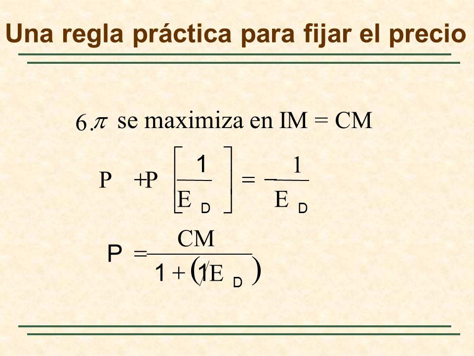 D DD E 11 CM P EE 1 P P 1.6 se maximiza en IM = CM Una regla práctica para fijar el precio