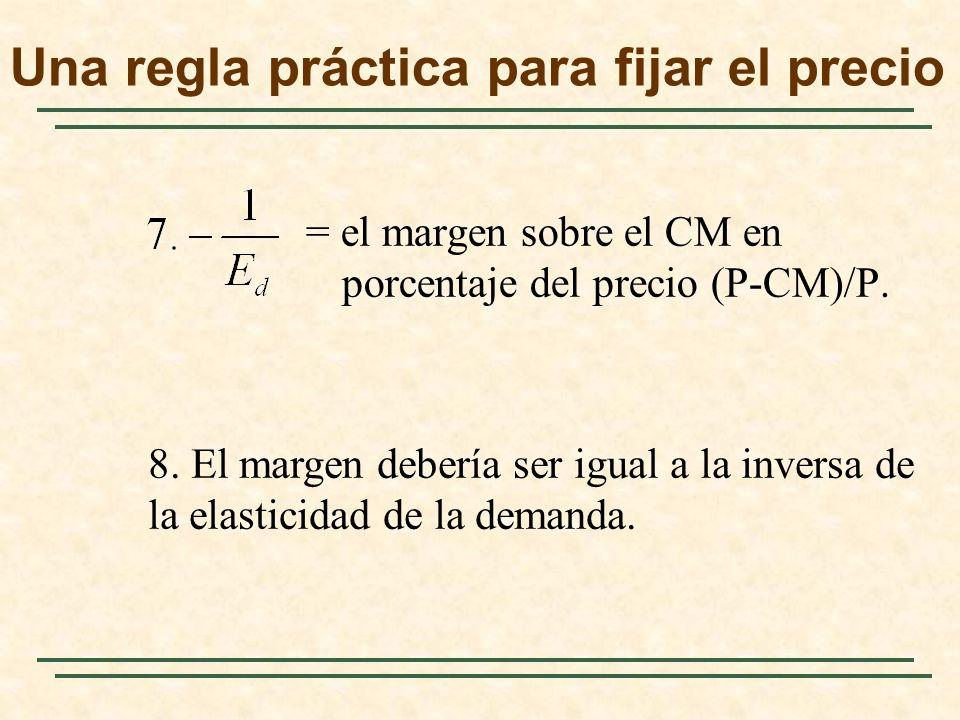 = el margen sobre el CM en porcentaje del precio (P-CM)/P.