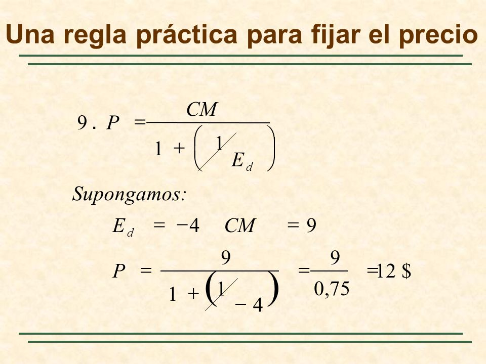 12 $ 0,75 9 4 1 1 9 94 1 1 9. P CME Supongamos: E CM P d d Una regla práctica para fijar el precio