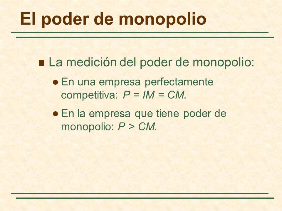 La medición del poder de monopolio: En una empresa perfectamente competitiva: P = IM = CM.