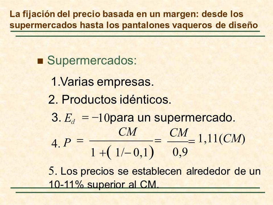 La fijación del precio basada en un margen: desde los supermercados hasta los pantalones vaqueros de diseño Supermercados: para un supermercado.