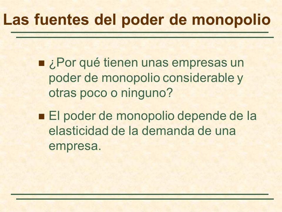 Las fuentes del poder de monopolio ¿Por qué tienen unas empresas un poder de monopolio considerable y otras poco o ninguno.