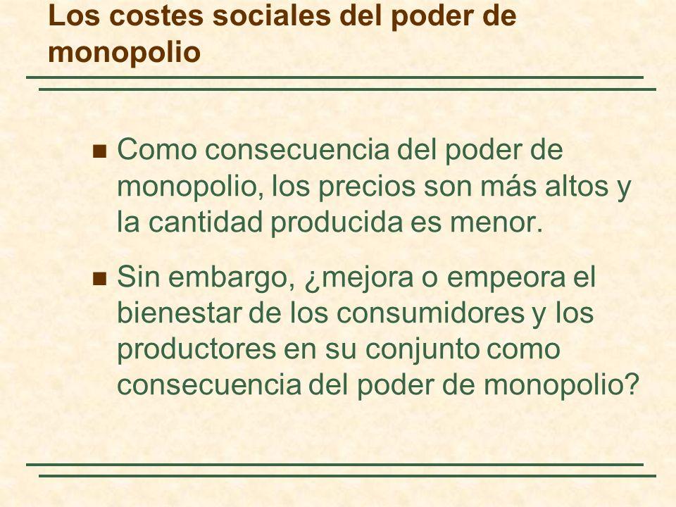Los costes sociales del poder de monopolio Como consecuencia del poder de monopolio, los precios son más altos y la cantidad producida es menor.
