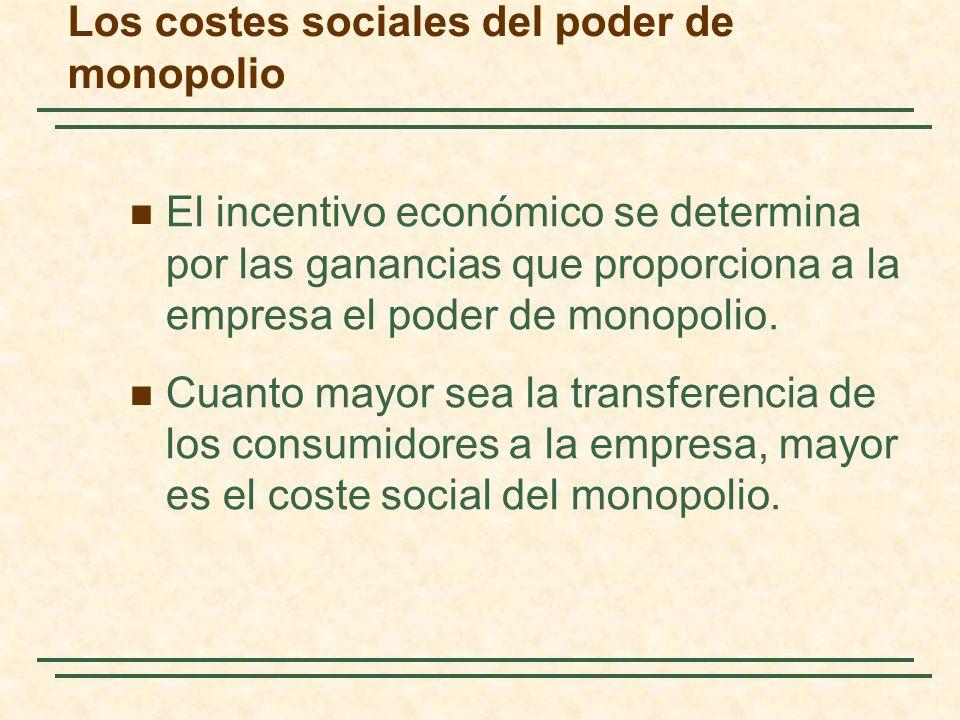 El incentivo económico se determina por las ganancias que proporciona a la empresa el poder de monopolio.