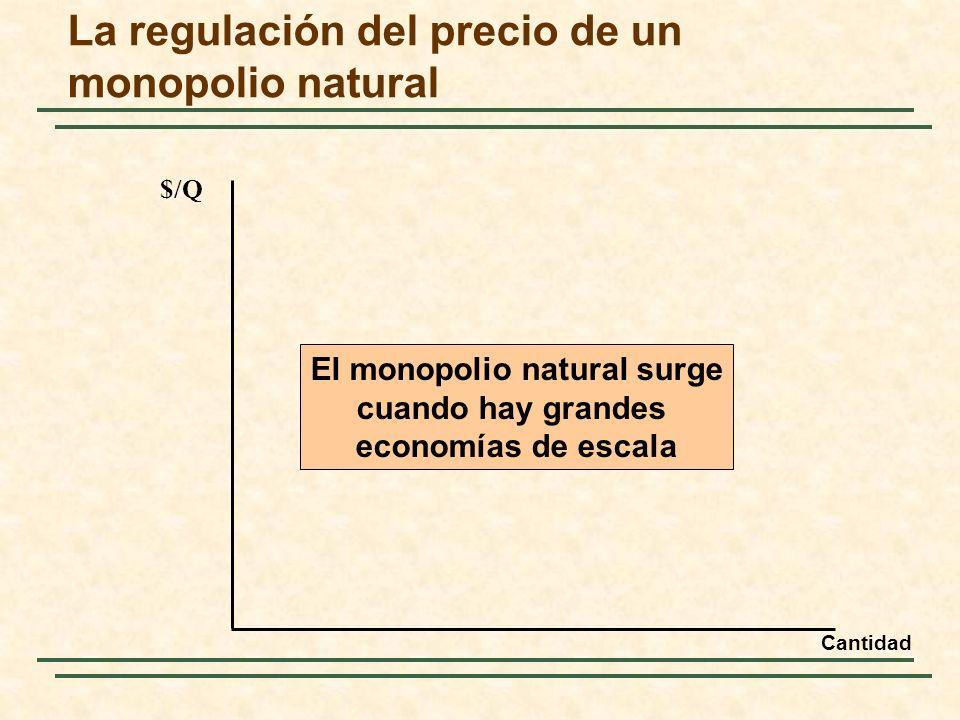 La regulación del precio de un monopolio natural $/Q El monopolio natural surge cuando hay grandes economías de escala Cantidad