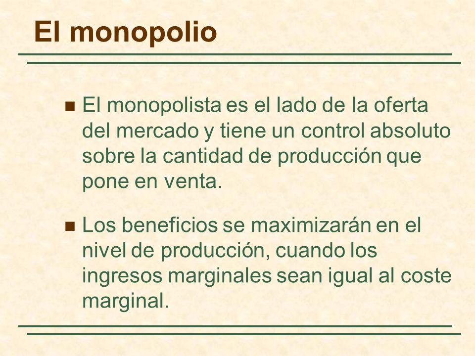 El monopolista es el lado de la oferta del mercado y tiene un control absoluto sobre la cantidad de producción que pone en venta.