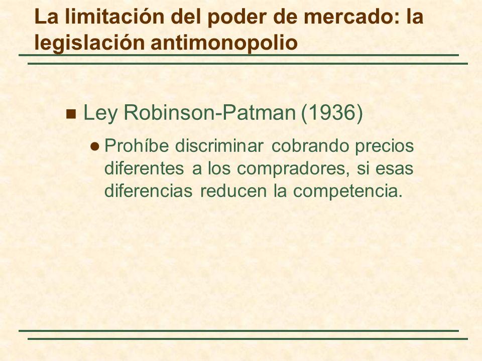 Ley Robinson-Patman (1936) Prohíbe discriminar cobrando precios diferentes a los compradores, si esas diferencias reducen la competencia.