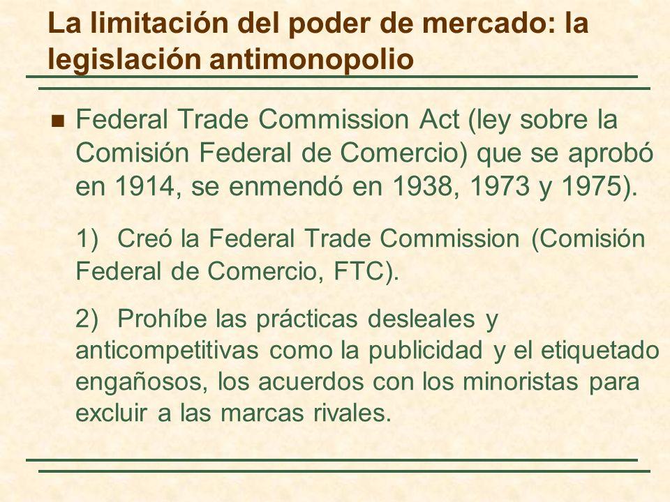 Federal Trade Commission Act (ley sobre la Comisión Federal de Comercio) que se aprobó en 1914, se enmendó en 1938, 1973 y 1975).