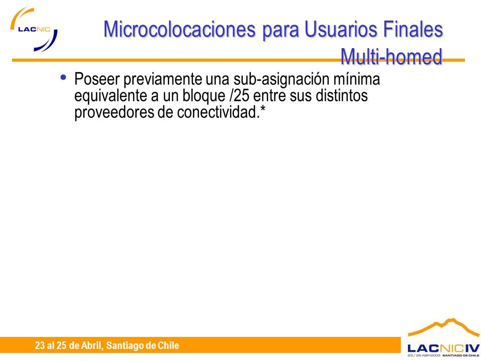 23 al 25 de Abril, Santiago de Chile Microcolocaciones para Usuarios Finales Multi-homed Poseer previamente una sub-asignación mínima equivalente a un bloque /25 entre sus distintos proveedores de conectividad.*