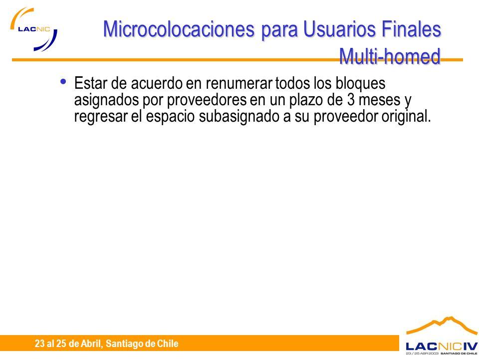 23 al 25 de Abril, Santiago de Chile Microcolocaciones para Usuarios Finales Multi-homed Estar de acuerdo en renumerar todos los bloques asignados por