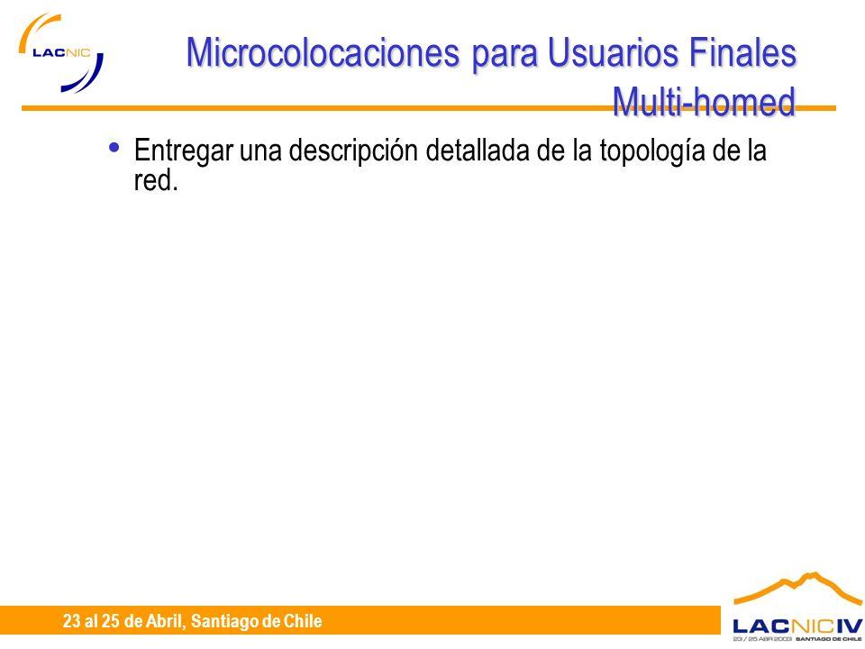 23 al 25 de Abril, Santiago de Chile Microcolocaciones para Usuarios Finales Multi-homed Entregar una descripción detallada de la topología de la red.