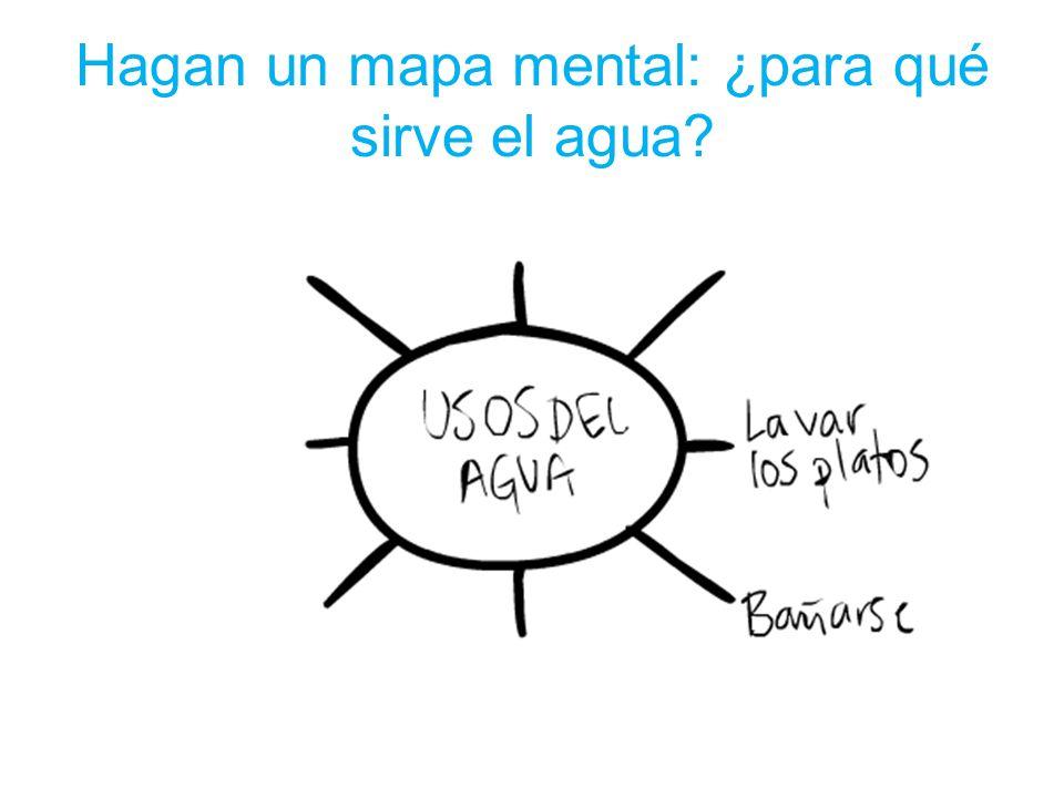 Hagan un mapa mental: ¿para qué sirve el agua?