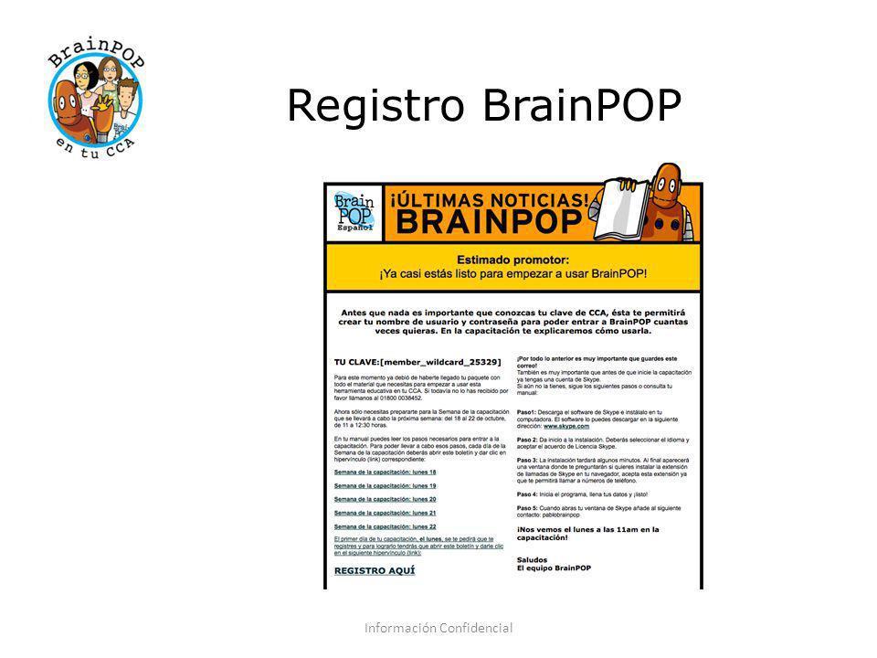 Registro BrainPOP Información Confidencial