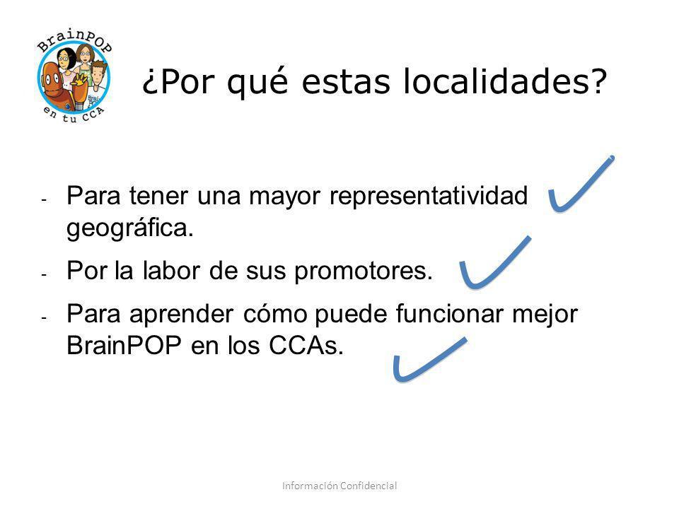 ¿Por qué estas localidades? - Para tener una mayor representatividad geográfica. - Por la labor de sus promotores. - Para aprender cómo puede funciona