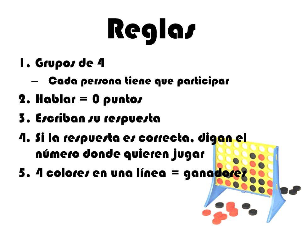 Reglas 1.Grupos de 4 – Cada persona tiene que participar 2.Hablar = 0 puntos 3.Escriban su respuesta 4.Si la respuesta es correcta, digan el número do