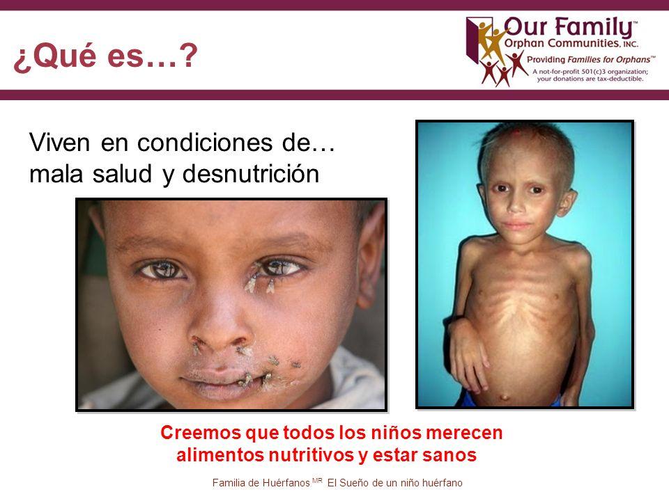 10 Viven en condiciones de… mala salud y desnutrición Familia de Huérfanos MR El Sueño de un niño huérfano ¿Qué es….