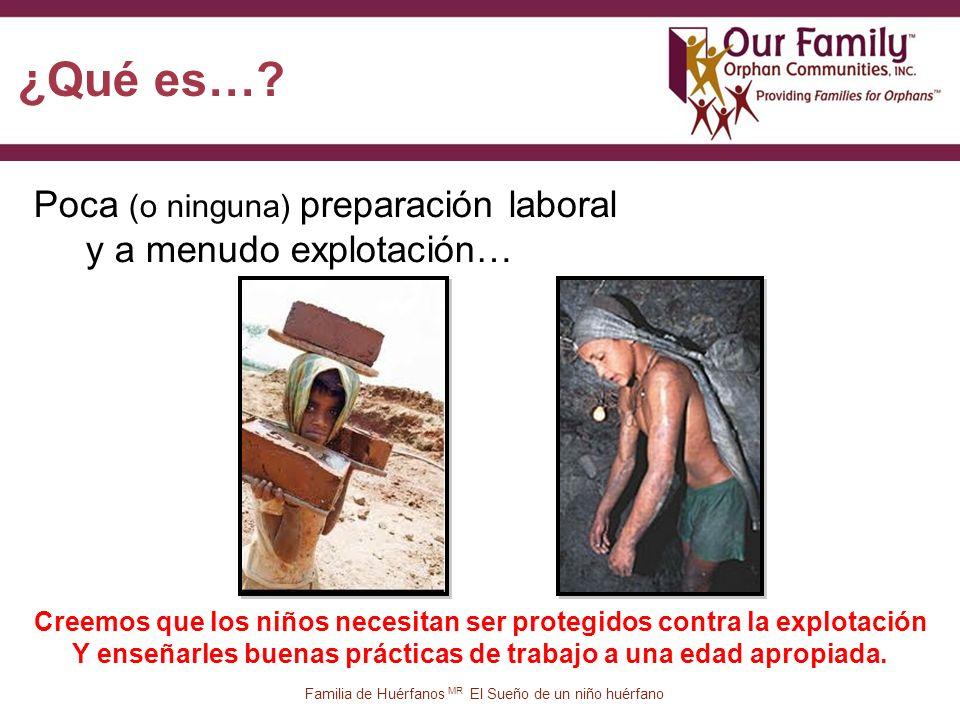 12 Poca (o ninguna) preparación laboral y a menudo explotación… Familia de Huérfanos MR El Sueño de un niño huérfano ¿Qué es….