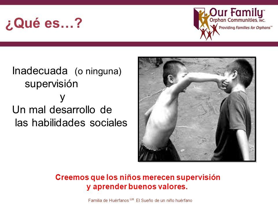 13 Inadecuada (o ninguna) supervisión y Un mal desarrollo de las habilidades sociales Familia de Huérfanos MR El Sueño de un niño huérfano ¿Qué es….