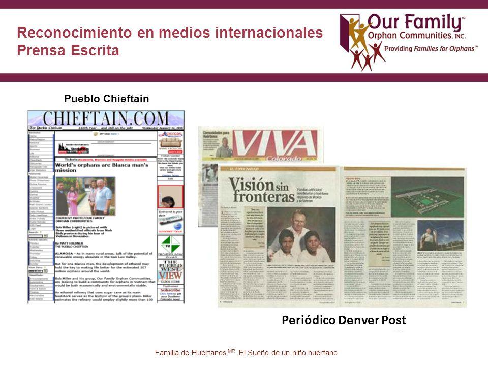 34 Pueblo Chieftain Reconocimiento en medios internacionales Prensa Escrita Periódico Denver Post Familia de Huérfanos MR El Sueño de un niño huérfano