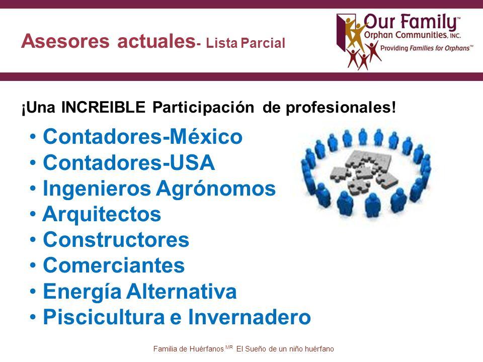 Asesores actuales - Lista Parcial 36 ¡Una INCREIBLE Participación de profesionales.