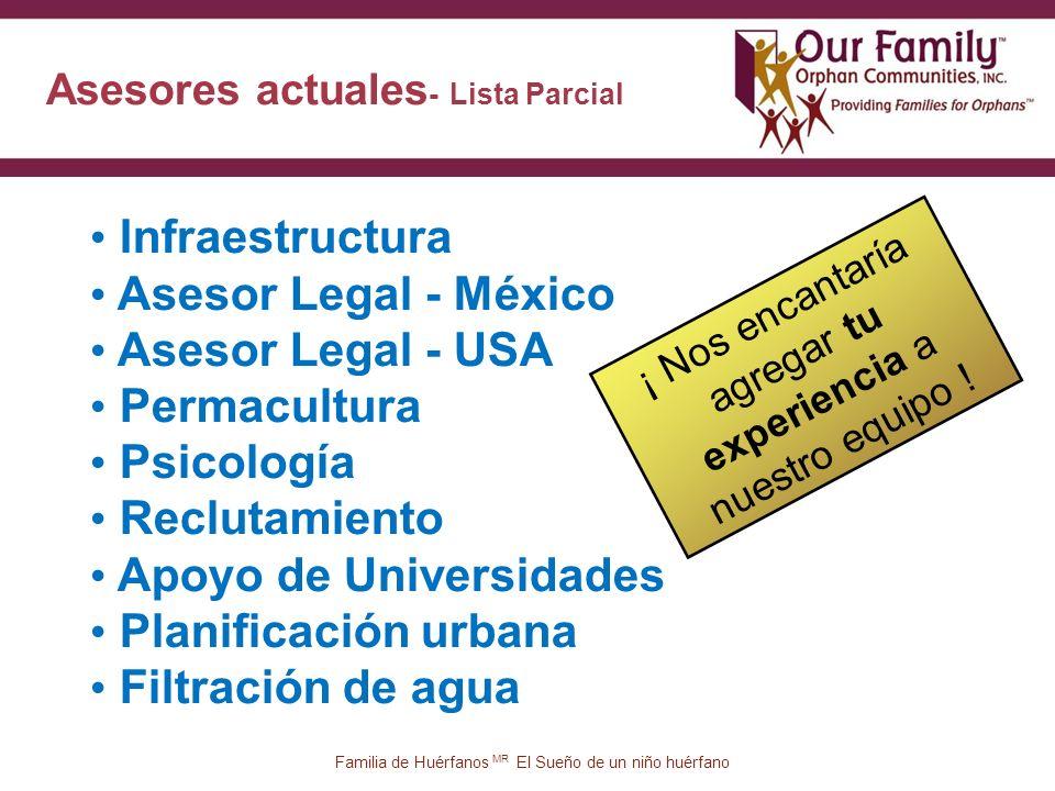 Asesores actuales - Lista Parcial 37 Infraestructura Asesor Legal - México Asesor Legal - USA Permacultura Psicología Reclutamiento Apoyo de Universidades Planificación urbana Filtración de agua ¡ Nos encantaría agregar tu experiencia a nuestro equipo .