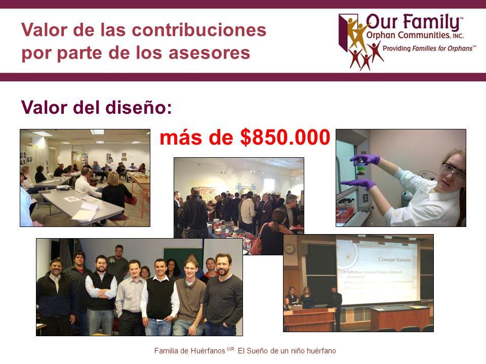 Valor de las contribuciones por parte de los asesores más de $850.000 38 Valor del diseño: Familia de Huérfanos MR El Sueño de un niño huérfano