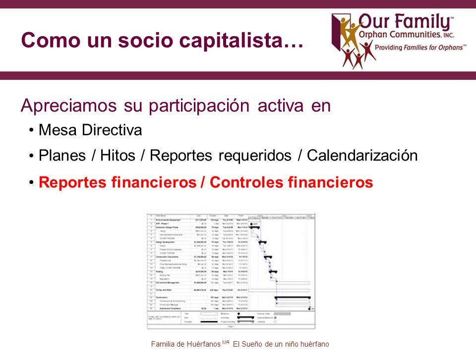 Como un socio capitalista… 65 Mesa Directiva Apreciamos su participación activa en Familia de Huérfanos MR El Sueño de un niño huérfano Reportes financieros / Controles financieros Planes / Hitos / Reportes requeridos / Calendarización