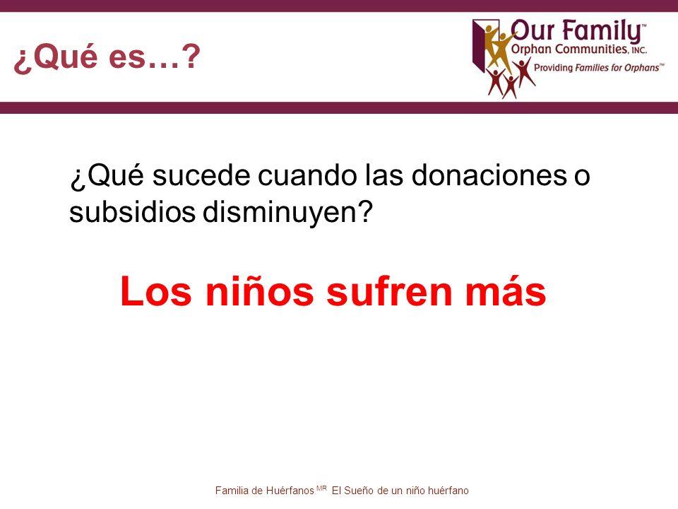82 Familia de Huérfanos MR El Sueño de un niño huérfano ¿Qué sucede cuando las donaciones o subsidios disminuyen.