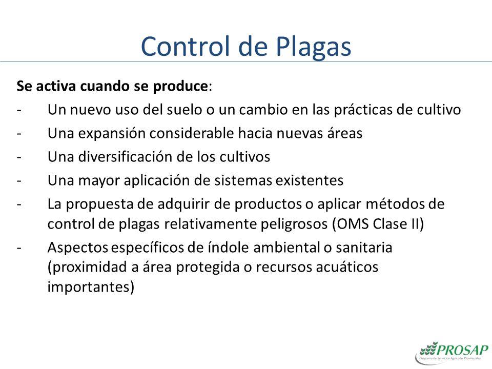 Control de Plagas Se debe hacer un Plan de Manejo de Plagas (PMP) en los siguientes casos: Los proyectos que involucren el uso significativo de pesticidas.