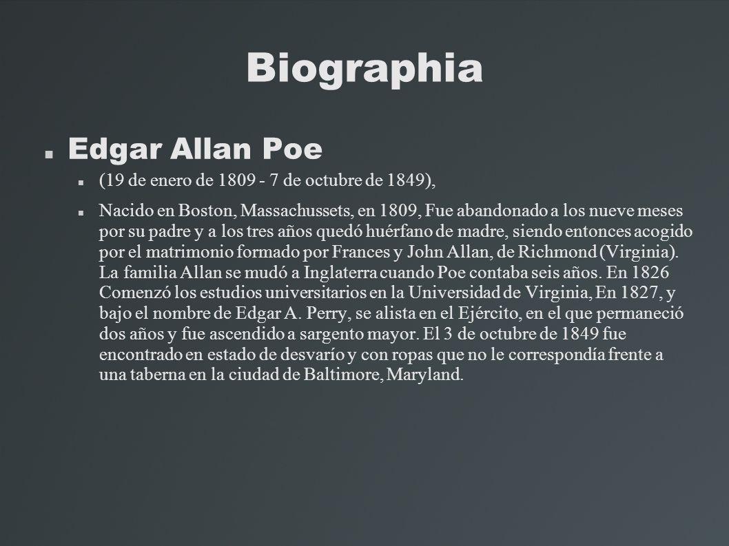 Biographia Edgar Allan Poe (19 de enero de 1809 - 7 de octubre de 1849), Nacido en Boston, Massachussets, en 1809, Fue abandonado a los nueve meses po