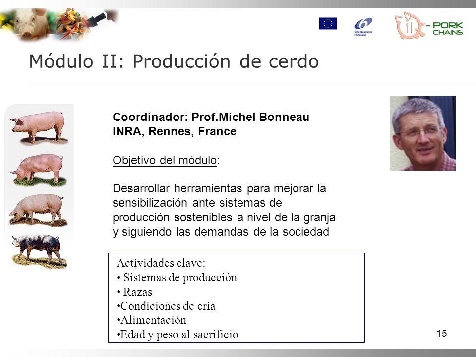 15 Módulo II: Producción de cerdo Coordinador: Prof.Michel Bonneau INRA, Rennes, France Objetivo del módulo: Desarrollar herramientas para mejorar la