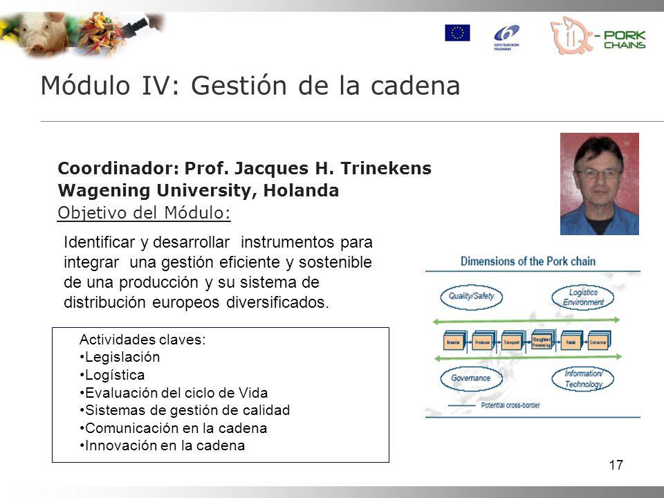 17 Coordinador: Prof. Jacques H. Trinekens Wagening University, Holanda Objetivo del Módulo: Módulo IV: Gestión de la cadena Identificar y desarrollar