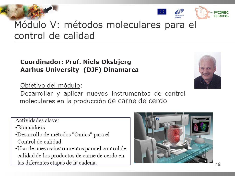 18 Coordinador: Prof. Niels Oksbjerg Aarhus University (DJF) Dinamarca Objetivo del módulo: Desarrollar y aplicar nuevos instrumentos de control molec