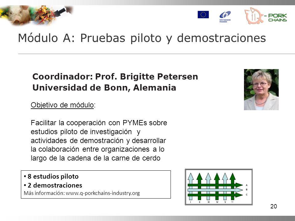 20 Coordinador: Prof. Brigitte Petersen Universidad de Bonn, Alemania Módulo A: Pruebas piloto y demostraciones Objetivo de módulo: Facilitar la coope