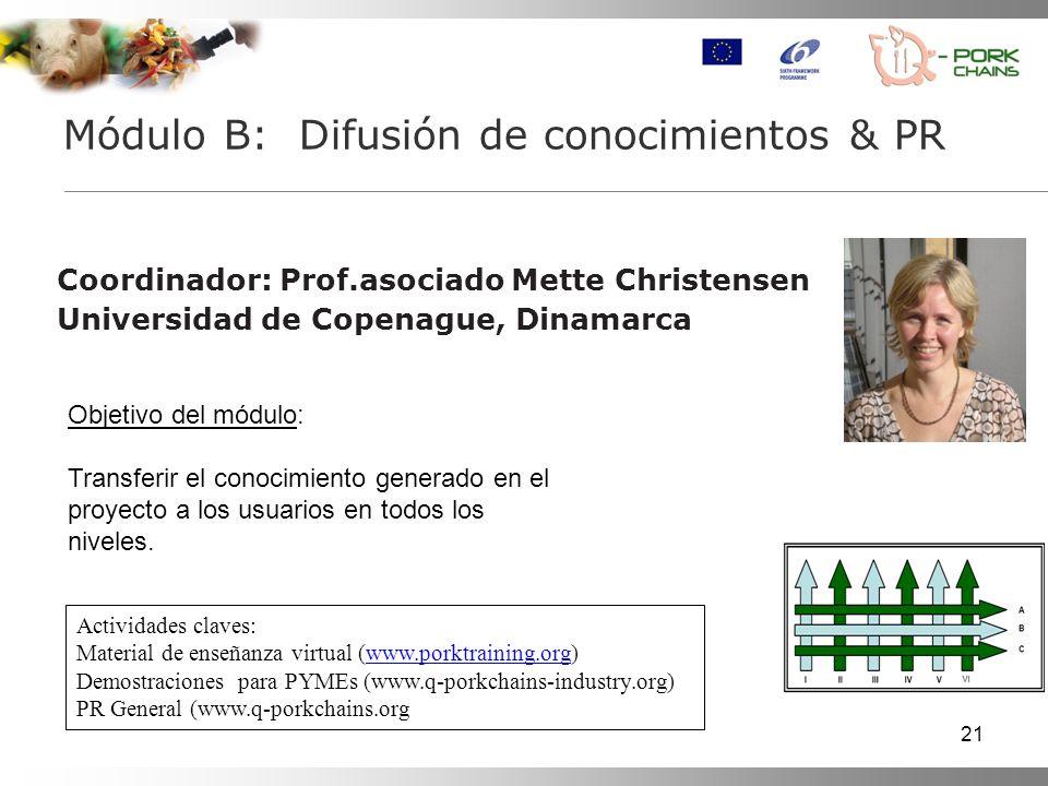 21 Coordinador: Prof.asociado Mette Christensen Universidad de Copenague, Dinamarca Módulo B: Difusión de conocimientos & PR Actividades claves: Mater