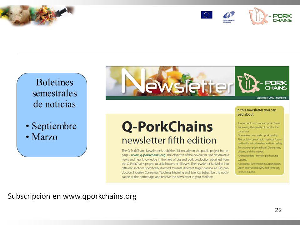 22 Boletines semestrales de noticias Septiembre Marzo Subscripción en www.qporkchains.org
