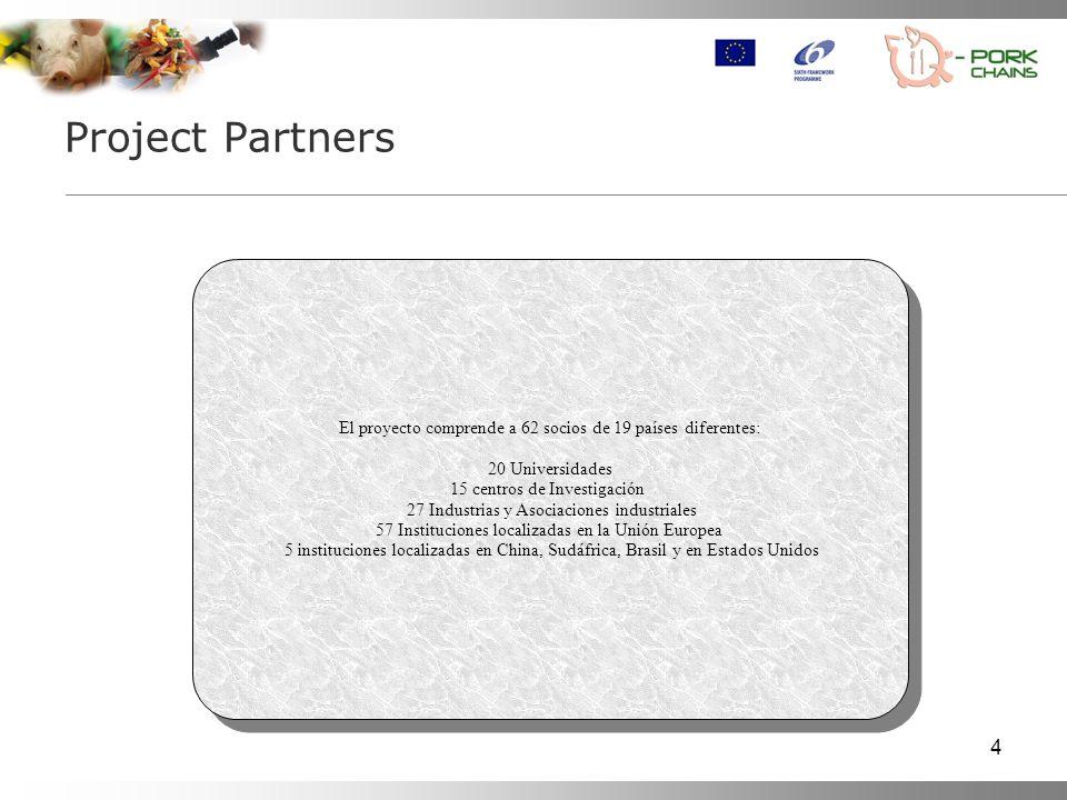 4 El proyecto comprende a 62 socios de 19 países diferentes: 20 Universidades 15 centros de Investigación 27 Industrias y Asociaciones industriales 57