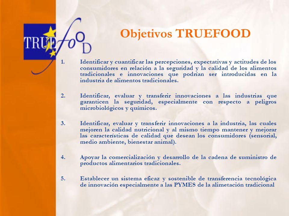 Objetivos TRUEFOOD 1.Identificar y cuantificar las percepciones, expectativas y actitudes de los consumidores en relación a la seguridad y la calidad de los alimentos tradicionales e innovaciones que podrían ser introducidas en la industria de alimentos tradicionales.