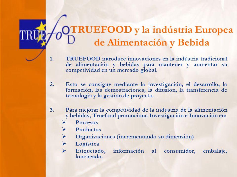 TRUEFOOD y la indústria Europea de Alimentación y Bebida 1.TRUEFOOD introduce innovaciones en la indústria tradicional de alimentación y bebidas para mantener y aumentar su competividad en un mercado global.