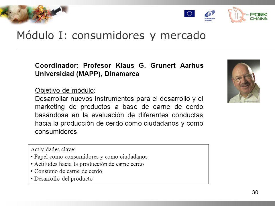 30 Módulo I: consumidores y mercado Actividades clave: Papel como consumidores y como ciudadanos Actitudes hacia la producción de carne cerdo Consumo de carne de cerdo Desarrollo del producto Coordinador: Profesor Klaus G.