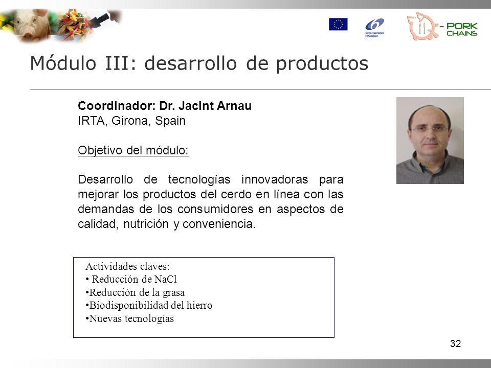 32 Módulo III: desarrollo de productos Coordinador: Dr.