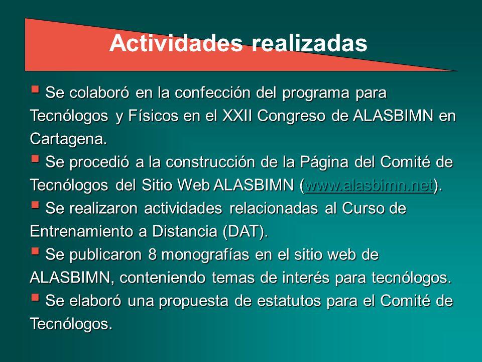 Se colaboró en la confección del programa para Tecnólogos y Físicos en el XXII Congreso de ALASBIMN en Cartagena.