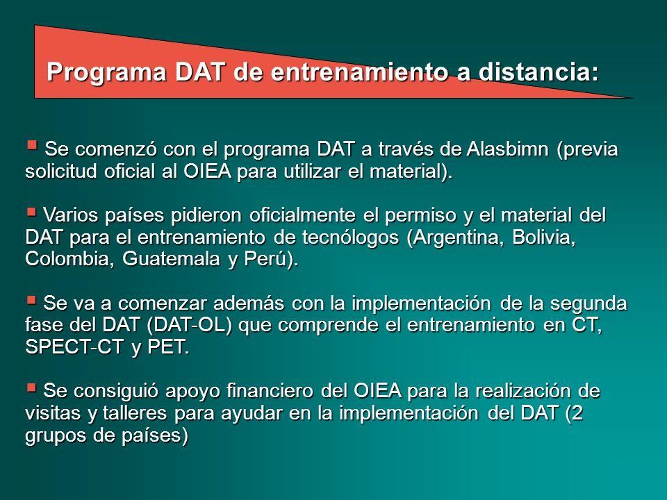 Se comenzó con el programa DAT a través de Alasbimn (previa solicitud oficial al OIEA para utilizar el material). Se comenzó con el programa DAT a tra