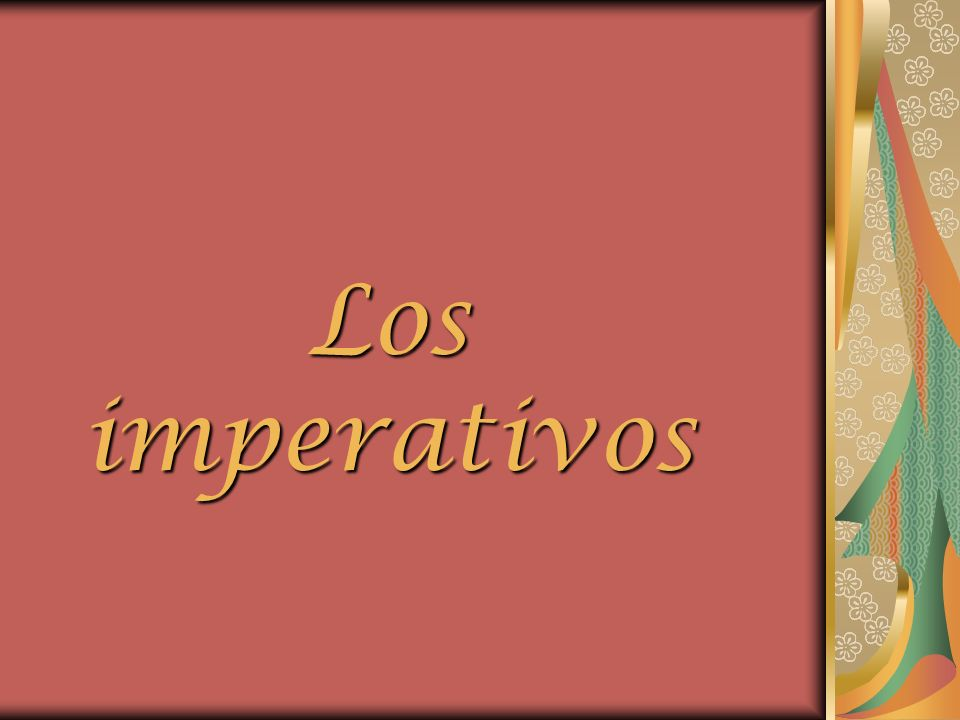 Imperativos Ud. and Uds. commands use the subjunctive form of the verb.
